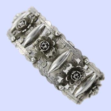 Early Cellini Dimensional Renaissance Revival 800 Silver Cuff Bracelet  c 1920-50