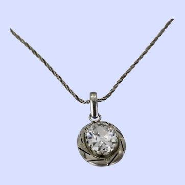Faceted 12+ CTW  Quartz Sterling Silver Pendant Necklace Mexico c1930-50