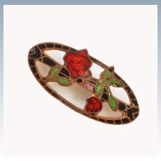 Victorian 10K Gold Enamel Rose Brooch Pin