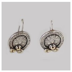 Victorian Sterling 18K Antique Engraved Earrings French Wires