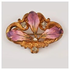 Art Nouveau 10K Orchid Brooch Pin c1900