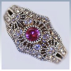 Art Deco Style Lab Ruby Diamond Sterling Ring Size 8