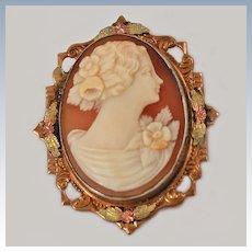 Cameo Carved Shell GF  Locket Pendant Brooch