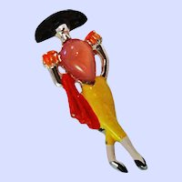 Early Art Deco Figural Jelly Belly Enameled Matador Brooch Pin c1940's.