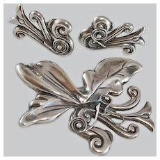 Art Nouveau Mexican Sterling Brooch Earrings c1920