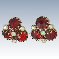 Vogue Ruby Chatons Prismatic Glass Heavy Clip Earrings c1950s