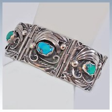 Navajo Signed Turquoise Sterling Silver Panel Bracelet c1970's