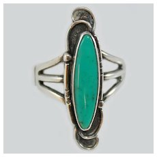 Navajo Turquoise Sterling Silver Size 8 c1950s