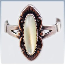 Native American Signed Mother of Pearl Sterling Size 8.5 Ring c1950's