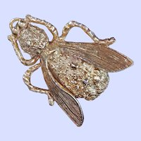 Judith Green Gold Tone Insect Brooch c1970s