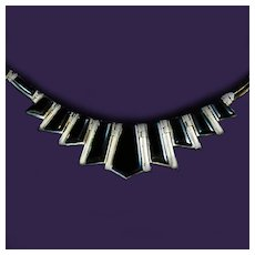 Rodrico 950 Sterling Inlaid Onyx Mexican Graduated Collar Necklace c1980s