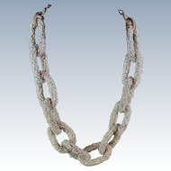 "Woven Glass Seed Bead Link Necklace 21""  Gold Tone Chain c1960s"