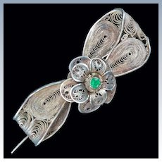 Victorian Filigree Sterling Silver Bow Pin Brooch c1880