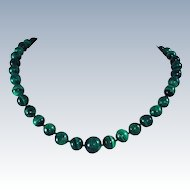 Malachite 26 Inch  X Large Bead Hand Carved Graduated 140 Grams Necklace c1930s
