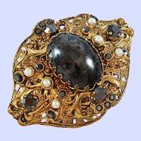 Domed Filigree Onyx Glass Rhinestones Faux Pearls Brooch Pin c1960s