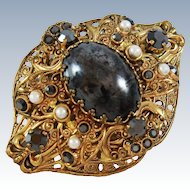 Domed Filigree Onyx Glass Rhinestones Faux Pearls Brooch Pin c1960s
