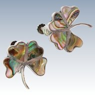 Mexico Sterling Silver Inlaid Abalone LUCKY 4 Leaf Clover Screw Back 9.5g  Earrings c1920s