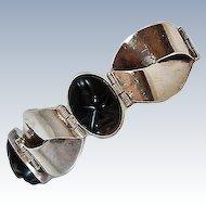Modernist Sterling 54 gm Sterling Silver Carved Onyx Bracelet c1930s