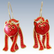 EARLY Berébi Cat 22K Plate Articulated Cloisonne Wire Hoop Earrings c1983