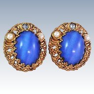 W Germany Blue Glass Rhinestone Faux Pearl Clip Earrings c1960's