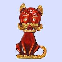 Adorable Enameled Cat Rhinestone Eyes Brooch Pin c1960s