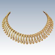 "Bold Couture Monet Etruscan Revival Fringe Collar Gold Tone 18"" Necklace c1950s"