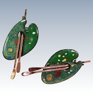 Matisse Enameled Copper Paint Palette With Brushes Clip Earrings c1950s