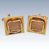Art Deco 22K Gold Plate Cuff Links c1940s