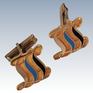 CTO 10K Gold Filled Enameled Cuff Links circa 1940's.