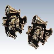 Swank Trojan Horse Gold Plate Cuff Links c1940's