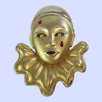 Pierrot Clown  Face Gold Silver Tone Brooch Pin c1950