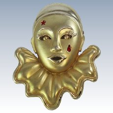 Pierrot Clown  Face Gold Silver Tone Brooch Pin c1950