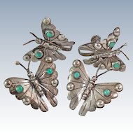Turquoise Sterling Silver Butterfly Scatter Pins Screw back Earrings c1930s