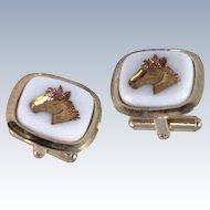 Horse Intaglio Cameo  Faux Onyx Gold Tone Cuff Links c1950s