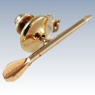 Arrow Tie Tack Lapel Pin Gold Tone c1970s