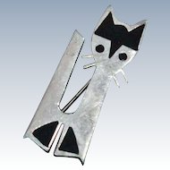 Modernist Inlaid Onyx Sterling Silver Cat Brooch Pin 8.7 grams Signed Mexico 1970s