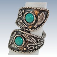 Southwestern Style Sterling Silver Turquoise Glass Ring Size 8 c1970's