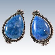 Navajo Sherry Sandoval  Blue Denim Lapis Lazuli Sterling Silver 12 grams Post Earrings c1970s