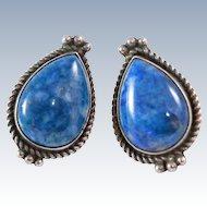 Navajo Sherry Sandoval  Blue Denim Lapis Lazuli Sterling Silver 12 grams Post Earrings c1970s
