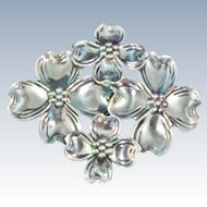 Beau Sterling Dogwood Sterling Silver  brooch pin c1960s