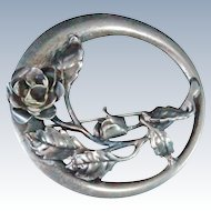 Danecraft Sterling Silver Rose 10.3 grams  brooch pin c1950s