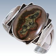 X - Wide Old Pawn Plume Agate Sterling Silver Cuff  44 grams c1930s