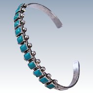 Old Pawn Native American Turquoise Sterling Silver 13.7 grams  cuff  c1950s