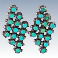 Native American Old Pawn Turquoise and Sterling Silver Clip Earrings 6.7 grams c1950s
