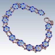 Mid Century Cloisonne Flower Charms Link Sterling Silver Bracelet
