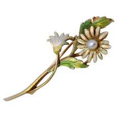 Art Nouveau Floral Pin Brooch Enamel 14K Gold Freshwater Pearl c1900