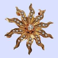 Victorian Star Pendant Brooch w/ Old European Cut Diamond Seed Pearls 10K Gold c1910