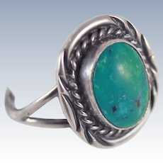 Old Pawn Native American Turquoise Sterling Ring Size 6.5 c1940's