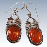Amber Sterling Silver Drop French Wire Earrings c1980s