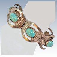 Signed Mexican Panel Bracelet Faux Turquoise Alpaca c1950s